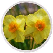 Round Beach Towel featuring the photograph Yellow Daffodil Painting by Andee Design