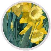 Yellow Daffodils Round Beach Towel by Greta Corens