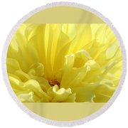 Yellow Dahlia Burst Round Beach Towel