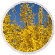 Yellow Explosion Round Beach Towel
