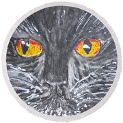 Yellow Eyed Black Cat Round Beach Towel by Kathy Marrs Chandler