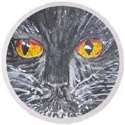 Yellow Eyed Black Cat Round Beach Towel