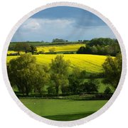 Yellow Fields In The Sun Round Beach Towel