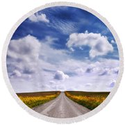 Yellow Flower Road Round Beach Towel