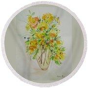 Yellow Flowers Round Beach Towel by Judith Rhue