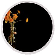 Orange Flowers On Black Background Round Beach Towel