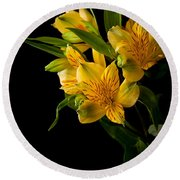 Round Beach Towel featuring the photograph Yellow Flowers by Sennie Pierson