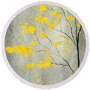 Yellow Foliage Impressionist Round Beach Towel by Lourry Legarde
