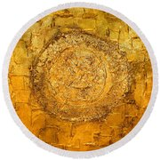 Yellow Gold Mixed Media Triptych Part 1 Round Beach Towel
