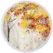 Yellow Gray And Red Round Beach Towel