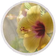 Yellow Hibiscus Round Beach Towel