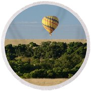 Yellow Hot Air Balloon Masai Mara Round Beach Towel