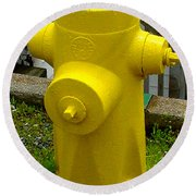Yellow Hydrant Round Beach Towel