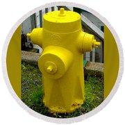 Yellow Hydrant Round Beach Towel