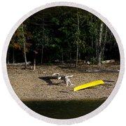 Yellow Kayak Round Beach Towel