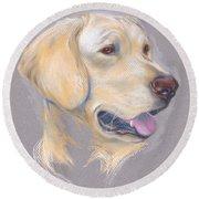 Yellow Labrador Retriever Portrait Round Beach Towel