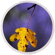 Yellow Leaf Round Beach Towel