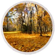 Yellow Leaf Road Round Beach Towel