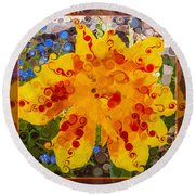 Yellow Lily With Streaks Of Red Abstract Painting Flower Art Round Beach Towel