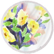 Round Beach Towel featuring the painting Yellow Magnolias by Kip DeVore