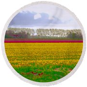 Round Beach Towel featuring the photograph Yellow Meadow by Luc Van de Steeg