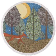 Yellow Moon Rising Round Beach Towel
