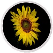Yellow On Black Round Beach Towel