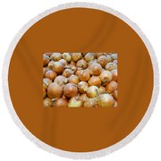Round Beach Towel featuring the photograph Yellow Onions by Emmy Marie Vickers