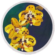 Yellow Orchids Round Beach Towel by Laura Forde