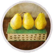Yellow Pears And Vintage Green Book Still Life Round Beach Towel