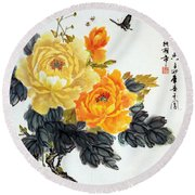 Round Beach Towel featuring the photograph Yellow Peonies by Yufeng Wang