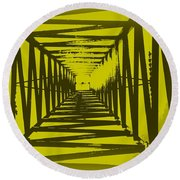 Yellow Perspective Round Beach Towel by Clare Bevan