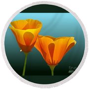 Yellow Poppies Round Beach Towel