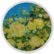 Round Beach Towel featuring the painting Yellow Roses by Judith Rhue