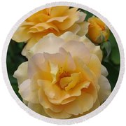 Round Beach Towel featuring the photograph Yellow Roses by Marilyn Wilson