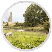 Yellow Steeple Amidst Meath Ireland Round Beach Towel
