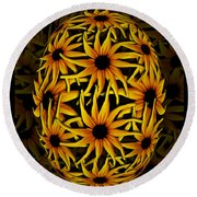 Yellow Sunflower Seed Round Beach Towel