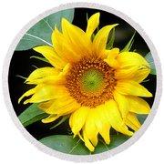 Yellow Sunflower Round Beach Towel by Trina  Ansel