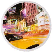 Yellow Taxi On The Road, Times Square Round Beach Towel