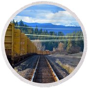 Yellow Train To The Mountains Round Beach Towel