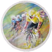 Yellow Triumph Round Beach Towel
