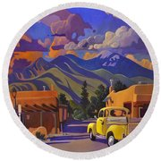 A Yellow Truck In Taos Round Beach Towel