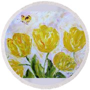 Yellow Tulips And Butterfly Round Beach Towel