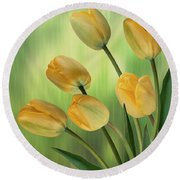 Yellow Tulips Round Beach Towel