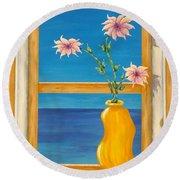 Yellow Vase With Sea View Round Beach Towel