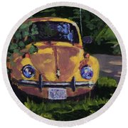 Yellow Vee Dub Round Beach Towel