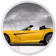 Yellow Viper Roadster Round Beach Towel by Douglas Pittman