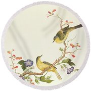 Yellow Wagtail With Blue Head Round Beach Towel