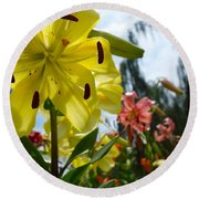 Yellow Whopper Lily 1 Round Beach Towel