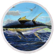Yellowfin Crash Off0081 Round Beach Towel